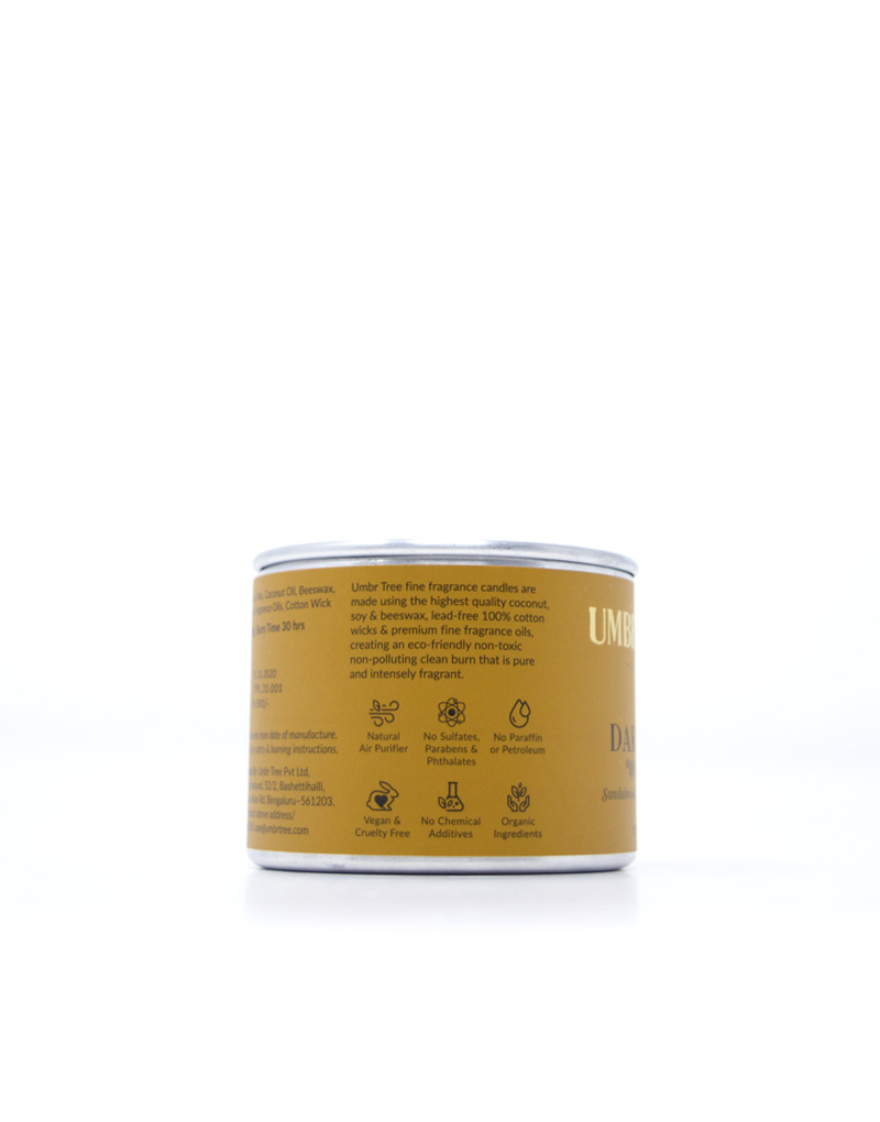 Umbr Tree fine home fragrance candle. Soul of India Collection. Dakshin Woods. Sandalwood, Myrrh, Patchouli, Musk. Home perfume. Soy wax, Coconut wax, palm wax, bees wax. All natural wax fragrance candles. Scented candles. Bangalore India candles. gift set candles. Fragrance gift set candles. Home perfume candles. Gift set candles. Candle shop. Fine Home Fragrance Shop. Natural air purifier. no additives no dyes no paraffin no petroleum no chemicals no phthalates no parabens no sulfates cruelty free vegan organic ingredients