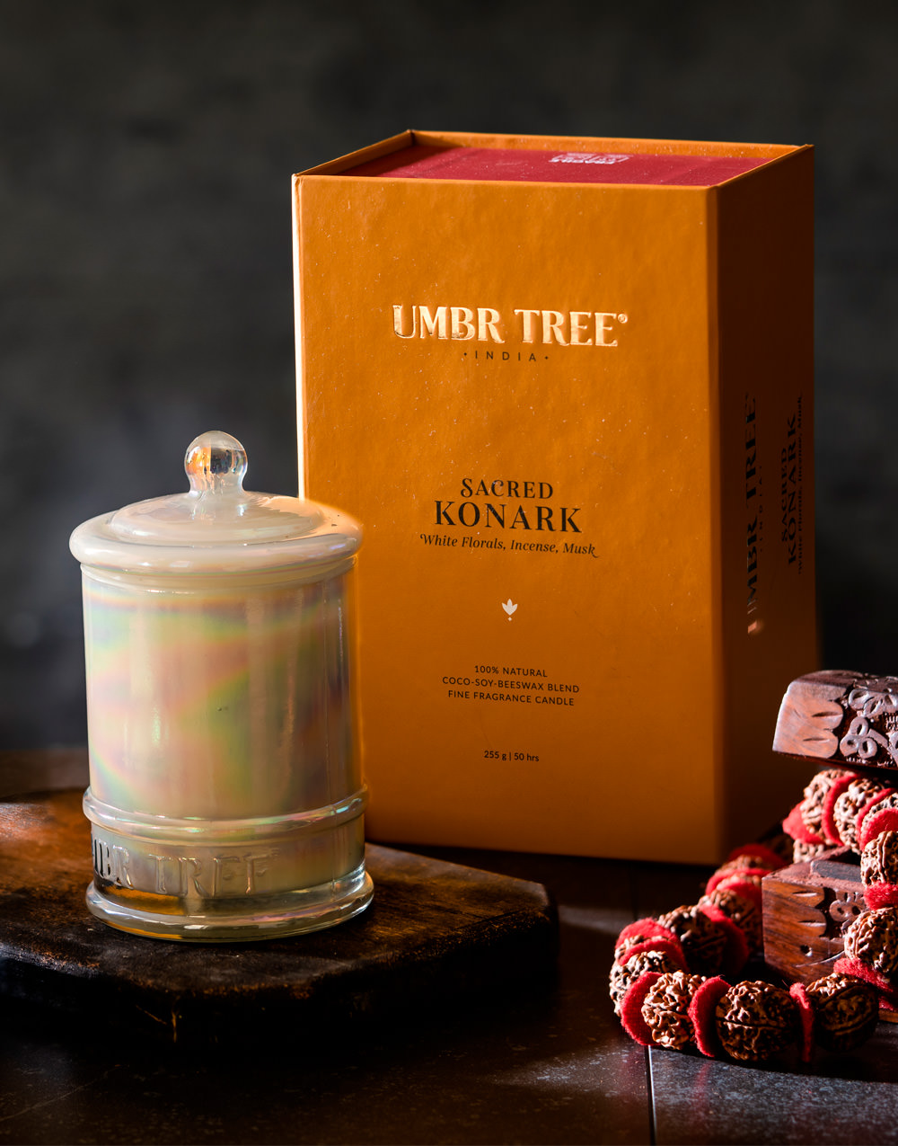 Umbr Tree fine home fragrance candle. Soul of India Collection. Sacred Konark. White florals, incense, musk, ghee, sweets, sugar, wet stones. Home perfume. Soy wax, Coconut wax, palm wax, bees wax. All natural wax fragrance candles. Scented candles. Bangalore India candles. gift set candles. Fragrance gift set candles. Home perfume candles. Gift set candles. Candle shop. Fine Home Fragrance Shop.