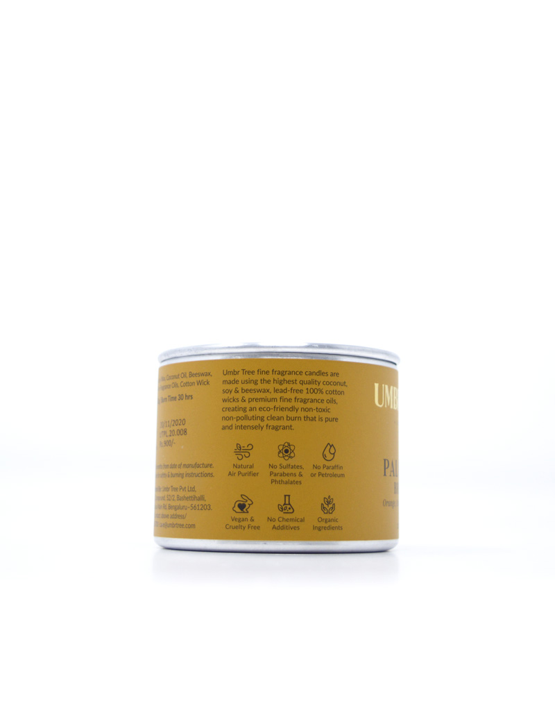 Umbr Tree fine home fragrance candle. Soul of India Collection. Palolem Breeze. Orange, Ozone, Soft Powder, Tropical fruits, Sun, sunny, beach, Goa, Goan, Beach life. Home perfume. Soy wax, Coconut wax, palm wax, bees wax. All natural wax fragrance candles. Scented candles. Bangalore India candles. gift set candles. Fragrance gift set candles. Home perfume candles. Gift set candles. Candle shop. Fine Home Fragrance Shop. Natural air purifier. no additives no dyes no paraffin no petroleum no chemicals no phthalates no parabens no sulfates cruelty free vegan organic ingredients