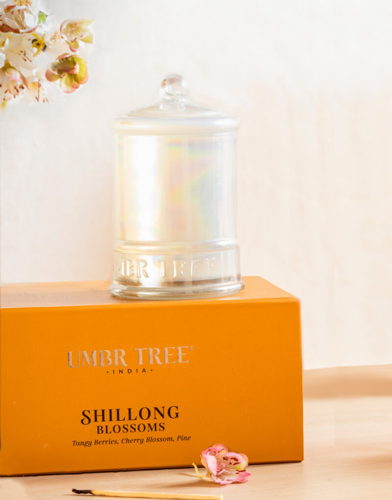Umbr Tree fine home fragrance candle. Soul of India Collection. Shillong Blossoms. tangy berries cherry blossoms pineHome perfume. Soy wax, Coconut wax, palm wax, bees wax. All natural wax fragrance candles. Scented candles. Bangalore India candles. gift set candles. Fragrance gift set candles. Home perfume candles. Gift set candles. Candle shop. Fine Home Fragrance Shop. Natural air purifier. no additives no dyes no paraffin no petroleum no chemicals no phthalates no parabens no sulfates cruelty free vegan organic ingredients